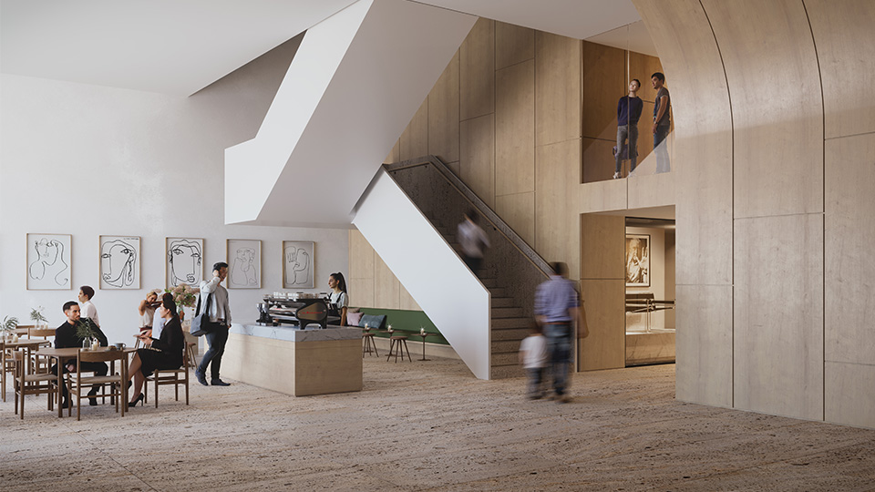 Foyer-lighter timber (Jewish Arts Quarter by Mclldowie Partners)